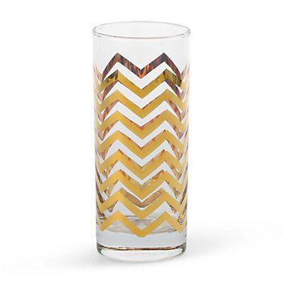 Golden Chevron Highball Glasses Set-C Wonder