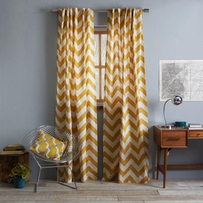 Maize zigzag Curtain-West Elm